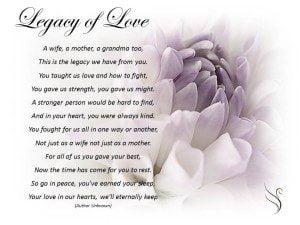 Funeral Poem Legacy of Love