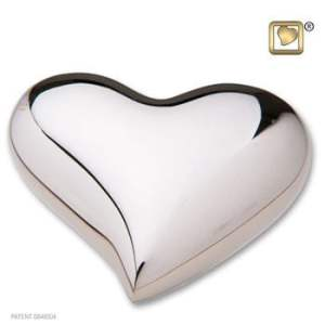 Bright Silver Heart Keepsake Urn