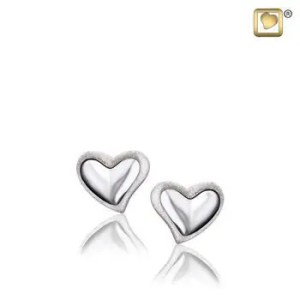Leaning Heart Silver Two Tone Earrings - Memorial Jewellery
