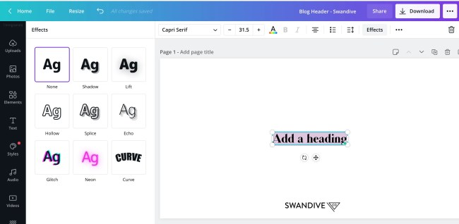 texT effects in canva
