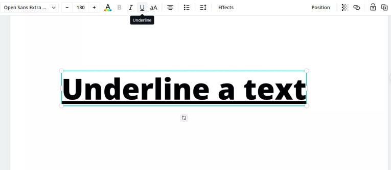 underline text in Canva