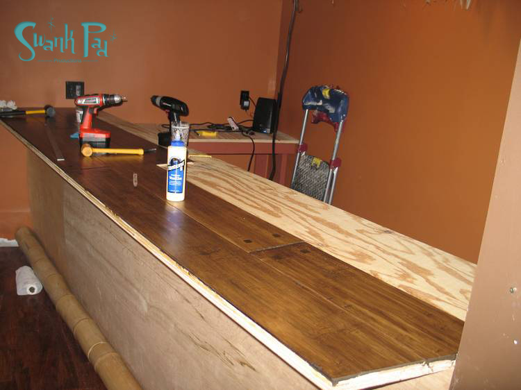 We Chose To Cover The Bar In Hardwood Flooring. 6u2032 X 7.5u2033 Pieces.