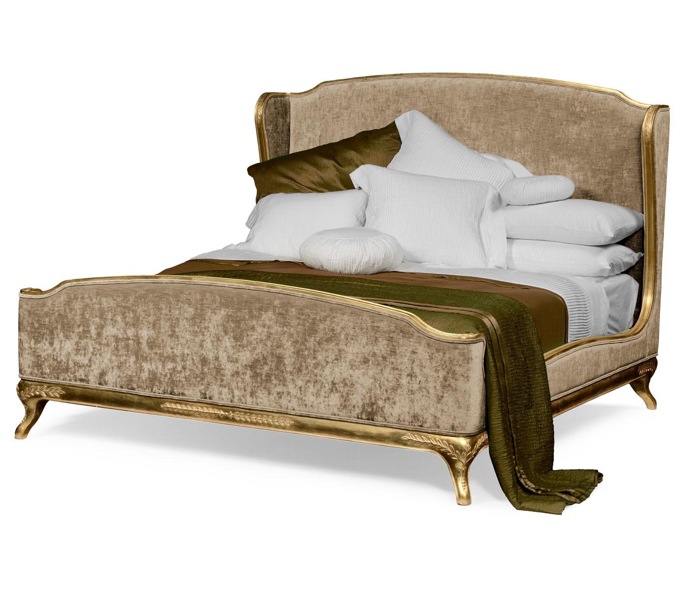 French Velvet Upholstered Bed Kingsize Swanky Interiors