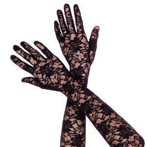 Over the elbow length black lace evening gloves