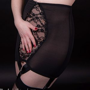 black lace front suspender girdle