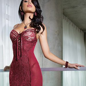 Red powernet chemise by Coquette
