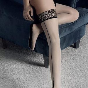 contrast seamed holdup stockings with leopard print tops