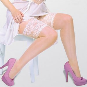 plus size lace top holdup stockings in Ivory