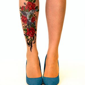 Birds & roses tattoo tights