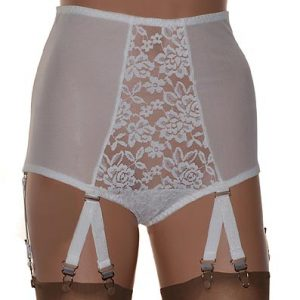 ivory lace front panty girdle with suspenders