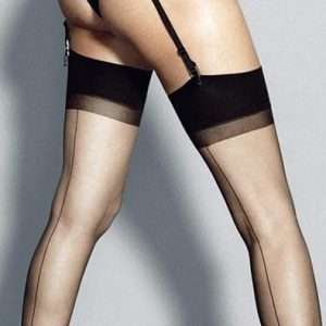 6 denier black seamed stockings
