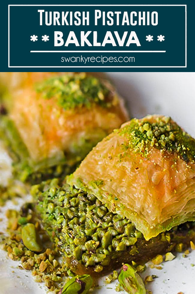 Pistachio Baklava - Easy Turkish baklava recipe with puff pastry, pistachios, and honey. Delicious regional dessert that's perfect for Easter or any holiday.