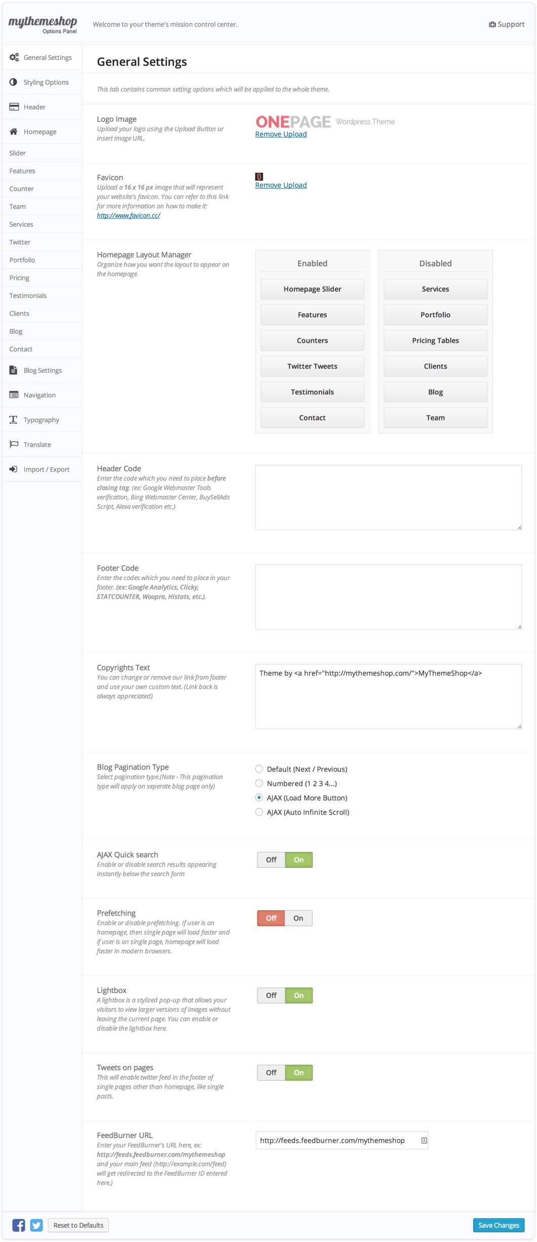 Onepage General Settings