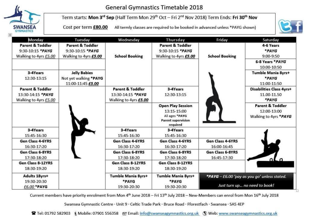 Sep 2018 Timetable