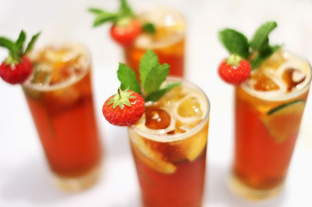A general view of Pimms beverages on day three of Wimbledon