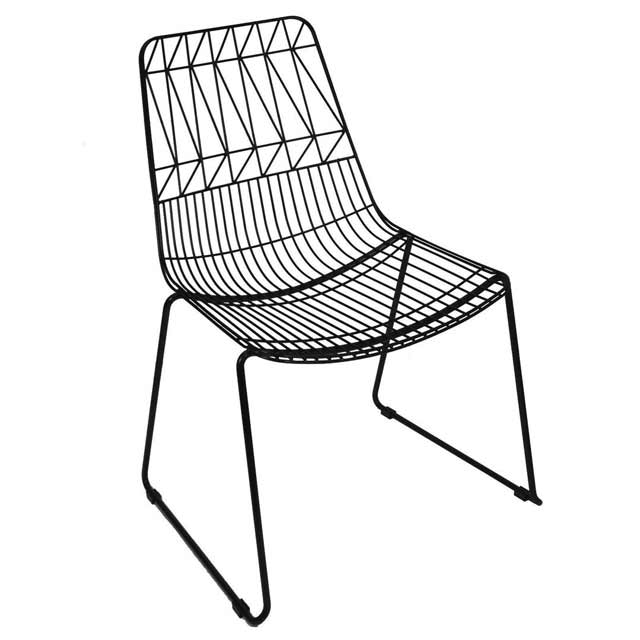 New Outdoor Wire Bend Chair Stackable Cafe Seat Dining