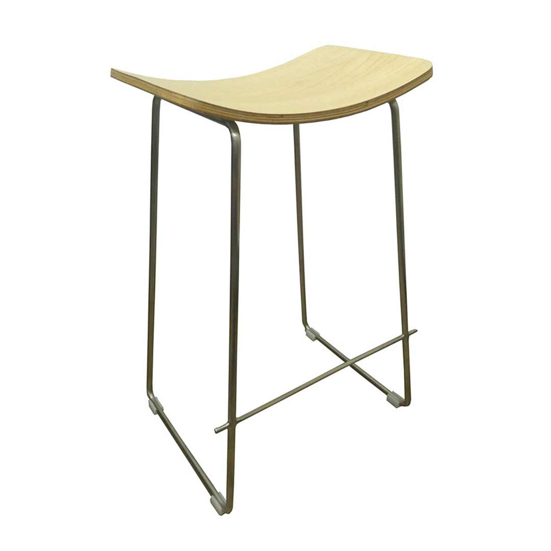 Lily Metal Kitchen Bar Stool Brushed Stainless Steel