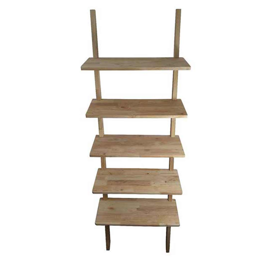 Scandi Natural Timber Bookcase Bookshelf 5 TIER Shelf