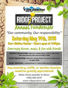 RidgeProject Jim Charlon Fundraiser 2016