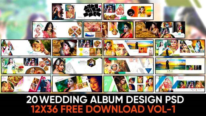 20 12x36 wedding album design psd free download Vol-1