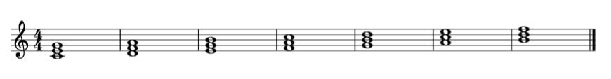 acorde tríada sobre cada nota