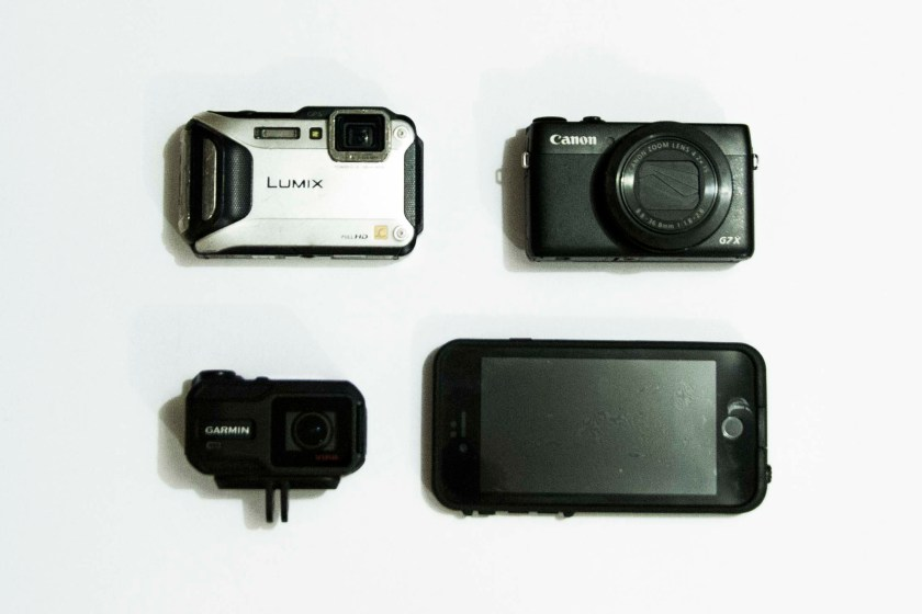 Lumix FT5, Canon G7X, Garmin VirbXE and iPhone with Lifeproof case.