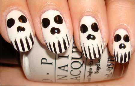 Hallowe'en Nail Art Tutorial Skull Nails