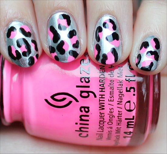 Silver Black Neon Pink Leopard Nail Art