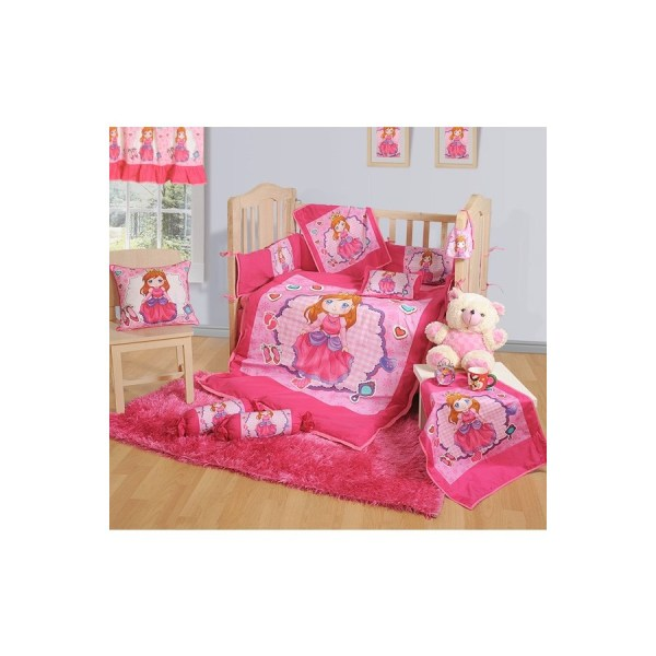 Buy Pink Princess Baby Cot Set  Cushions   Duvet Covers Set Online     BCS Engine Baby Cot Set 1012
