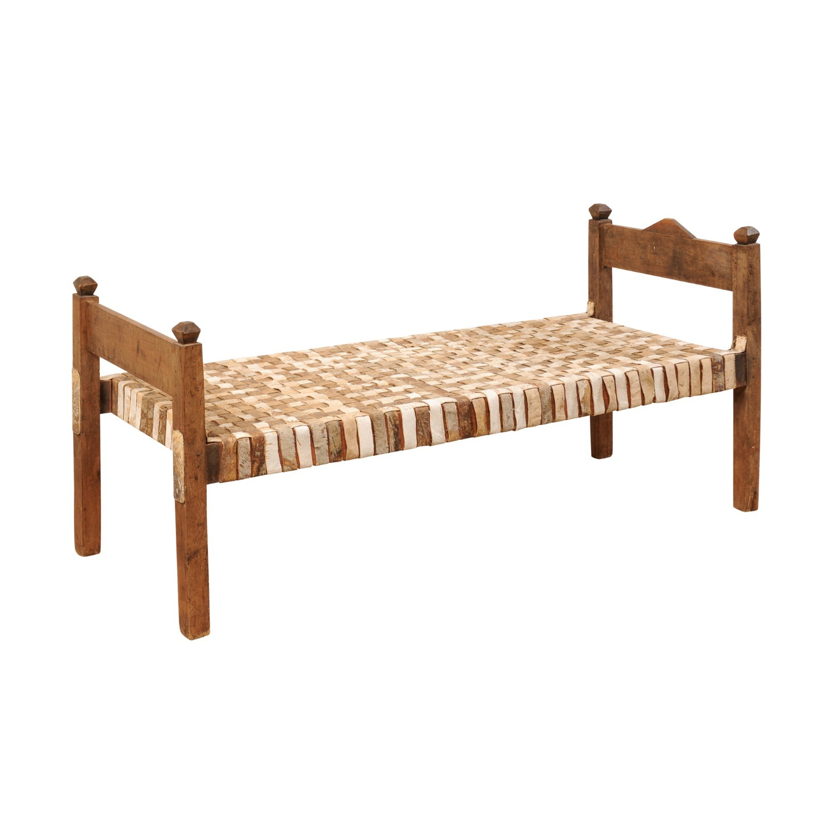 Woven Leather Wood Frame Daybed Bench 213 A Tyner Antiques