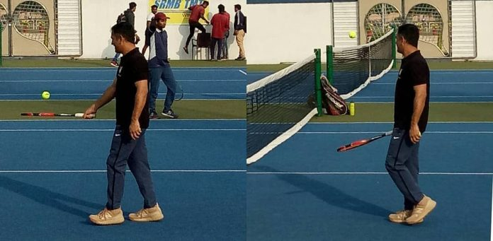 MS Dhoni playing tennis in Ranchi