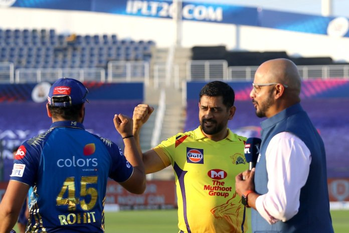 Rohit Sharma and MS Dhoni at the toss in first match of IPL 2020, Rohit Sharma starts IPL 2020 with first ball four vs CSK