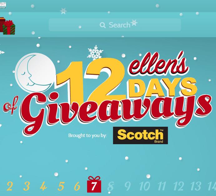 Ellen 12 days of giveaways mascot 2018 calendar
