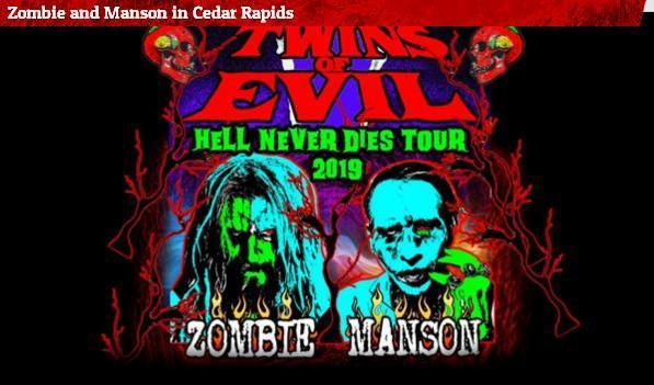 Zombie And Manson In Cedar Rapids Sweepstakes