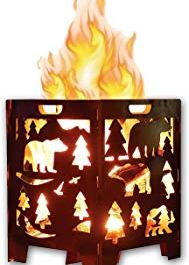 SuperHandy Incinerator Cage Fire Box California Bear Christmas/X-Mas Tree (Develops Patina Finish) Heavy Duty Steel 21″x 21″x 27″ inches for Burning Wood at Bonfire Sweepstakes