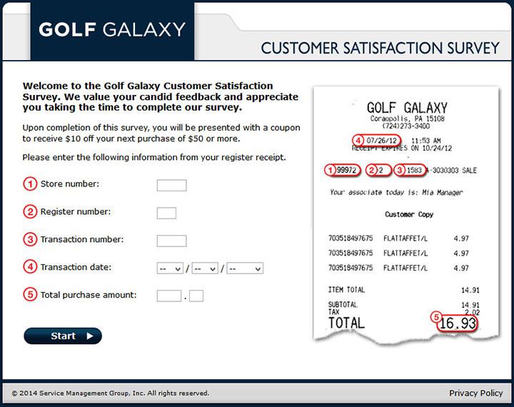 Golf Galaxy Customer Satisfaction Survey