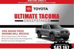 Toyota Ultimate Tacoma Sweepstakes - Win Car