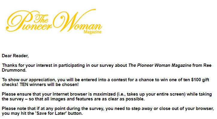 The Pioneer Woman Magazine Sweepstakes - Win Check