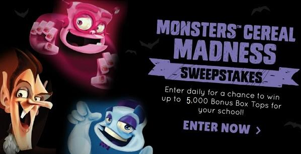 Box Tops 4 Education Monsters Cereal Sweepstakes – Win Cash Prizes