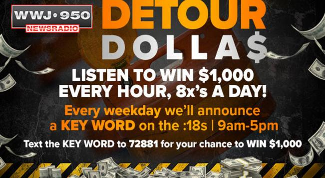 Detour Dollar$ Giveaway - Win Cash Prizes