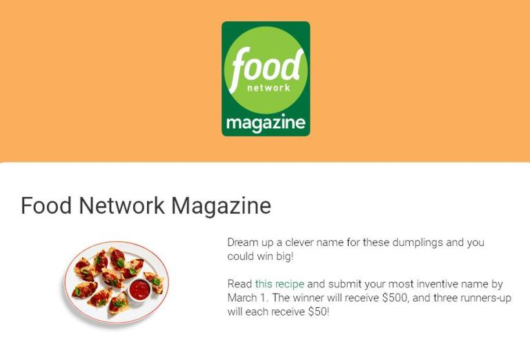 Food Network Magazine Name This Dish Contest – Win Cash Prizes