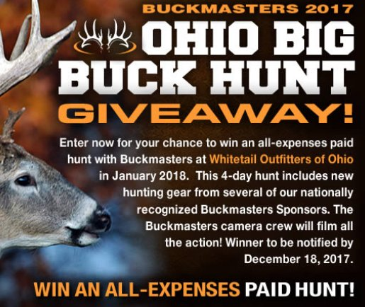 Buckmasters Ohio Big Buck Hunt Giveaway - Win Trip