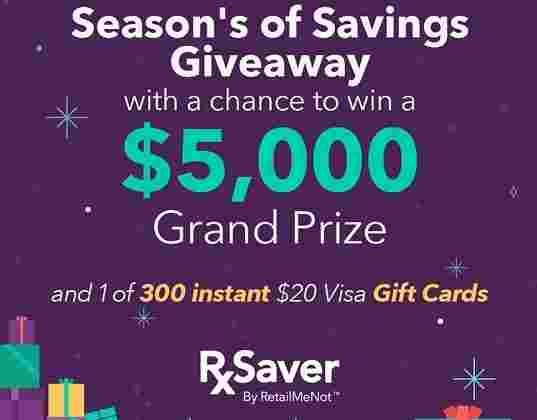 RxSaver Seasons Savings Giveaway - Win Cash Prizes