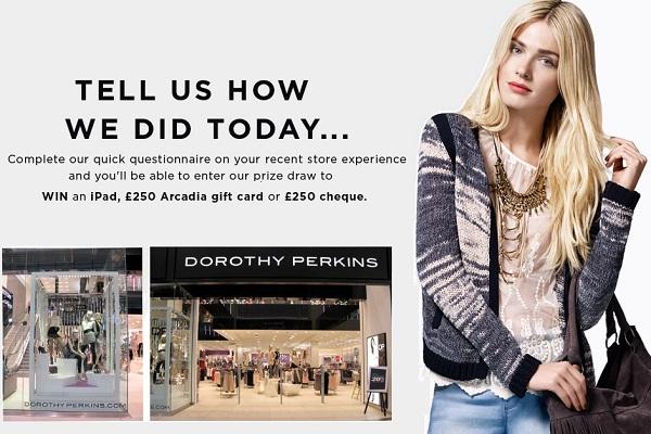 Dorothy Perkins Customer Feedback Survey - Win Cash Prizes