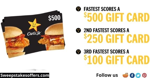 Carl's Jr Gift Card Giveaway