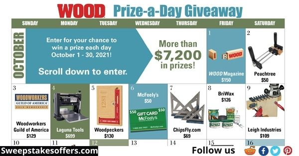 WOOD Prize A Day Giveaway