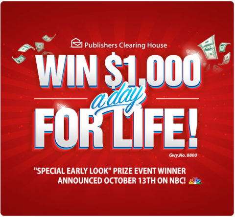 PCH.com Win $1,000 a Day for Life Sweepstakes