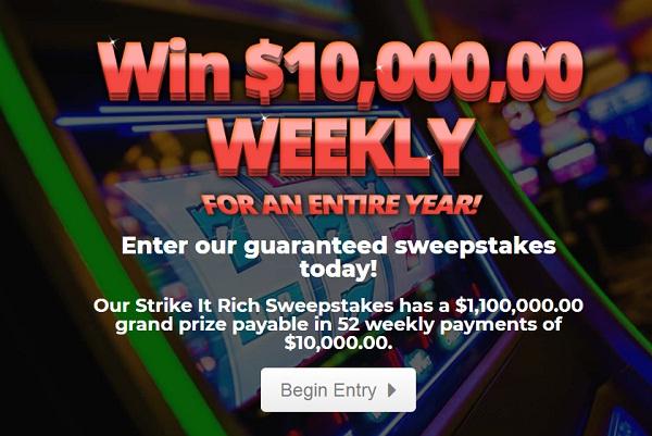PrizePub Strike It Rich Sweepstakes - Win $1.1 Million