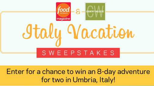 Food Network Magazine Italy Getaway Sweepstakes
