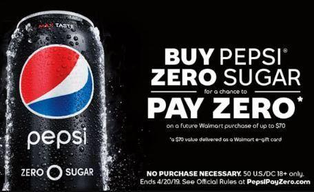 Pepsi Pay Zero Instant Win Game Sweepstakes
